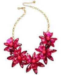 Kate Spade New York Gold Tone Blooming Brilliant Flower Statement Necklace Pinkmulti