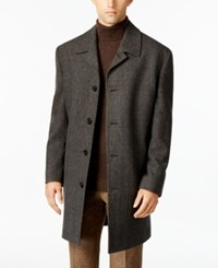 London Fog Coventry Wool Blend Overcoat Charcoal Herringbone