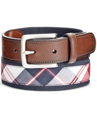 Club Room Men's Madras Web Belt Only At Macy's Navy