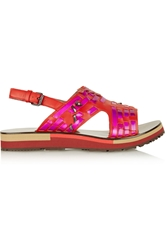 Lanvin Holographic Woven Leather Sandals Red