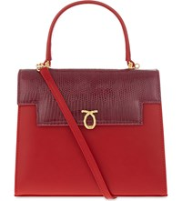 Launer Traviata Leather Tote Red Base Lizard Flap