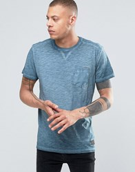 Solid Crew Neck T Shirt In Oil Wash With Pocket Navy 2318