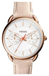Women's Fossil 'Tailor' Multifunction Leather Strap Watch 35Mm