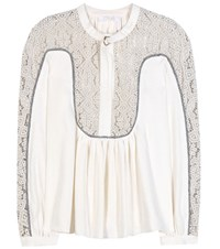 Chloe Linen And Silk Blouse With Lace Panels Beige