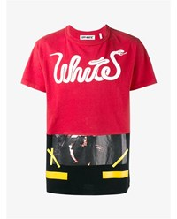Off White Patchwork Logo Print T Shirt Red Multi Coloured White Black Yellow Off Whi