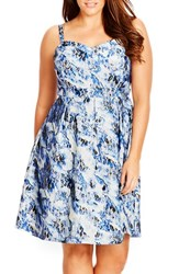 Plus Size Women's City Chic 'Blue Bloom' Floral Print Sundress