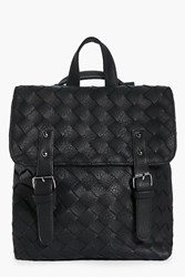 Boohoo Woven Double Buckle Back Pack Black