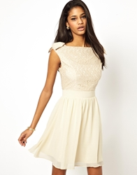 Little Mistress Prom Dress With Lace Bardot Top Cream