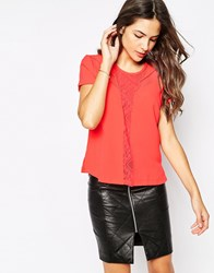 Y.A.S Short Sleeve Shirt With Lace Inserts Coral