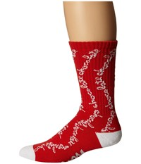 Huf X Choc Chunk Crew Socks Red Crew Cut Socks Shoes