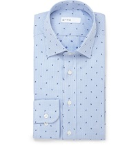 Etro Paisley Check Cotton Jacquard Shirt Blue