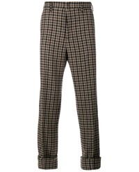 Gucci Wool Blend Gingham Trousers Oatmeal Brown Black Beige White