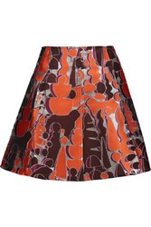 Opening Ceremony Dakota Metallic Jacquard Mini Skirt Bright Orange