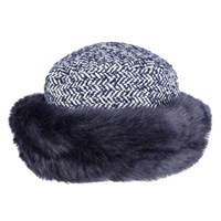 Dents Women S Tweed Hat With Faux Fur Brim Royal