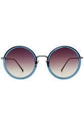 Linda Farrow Round Sunglasses Blue