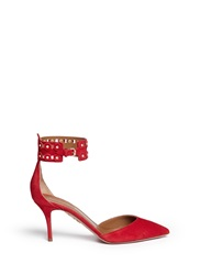Aquazzura 'Rockstar' Stud Ankle Cuff Suede Pumps Red