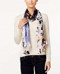 Vince Camuto Foliage And Blooms Silk Oblong Scarf Dark Shadow