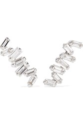 Suzanne Kalan 18 Karat White Gold Diamond Earrings