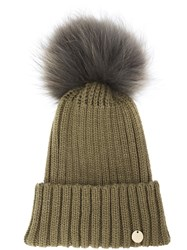 Yves Salomon Fur Pom Pom Beanie Green