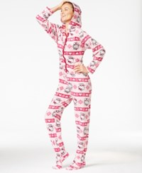 Hello Kitty Cute And Cozy Hooded Footed Jumpsuit Pink Fairisle
