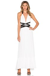 T Bags Losangeles V Neck Open Back Maxi Dress White