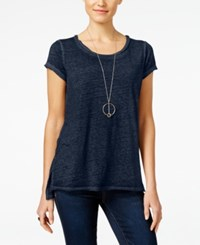 Inc International Concepts Petite High Low Burnout T Shirt Only At Macy's Deep Twilight