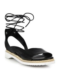 Rebecca Minkoff Lindy Leather Ankle Wrap Sandals Black