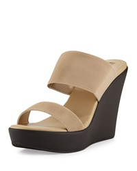 Neiman Marcus Peace Double Band Slide On Wedge Beige