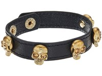 Betsey Johnson Gold Skull Metal Leather Bracelet Gold Bracelet