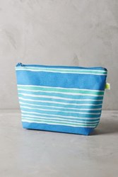 Anthropologie Waterstripe Cosmetic Bag Blue