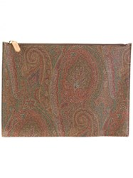 Etro Tonal Print Zipped Clutch Brown