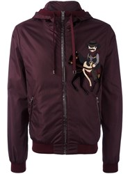 Dolce And Gabbana Cowboy Patch Hooded Jacket Red