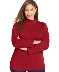 Karen Scott Plus Size Long Sleeve Mock Turtleneck Top Only At Macy's New Red Amore