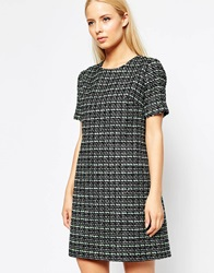Helene Berman Tweed Shift Dress With Silver And Sequin Flecks Mintblack