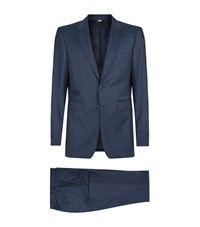 Burberry Millbank Micro Check Wool Suit Male Blue