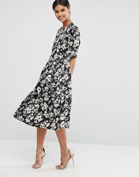 Asos Pleat Front Smock City Maxi Dress In Mono Floral Multi