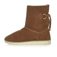 River Island Womens Tan Suede Faux Fur Trim Ankle Boots