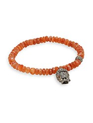Bavna Diamond Fire Opal And Sterling Silver Beaded Buddha Bracelet Orange