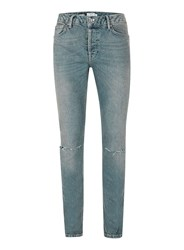 Topman Light Wash Blue Ripped Slim Jeans