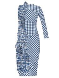 A.W.A.K.E. Ruffle Trim Gingham Sleevless Dress Blue White