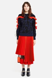 Toga Archives Pleated Satin Skirt Red