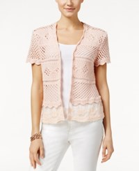 Styleandco. Style And Co. Crochet Shrug Cardigan Only At Macy's Crushed Petal