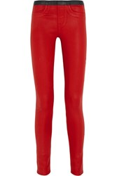 Helmut Lang Coated Stretch Twill Skinny Pants Red