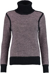 J Brand Gwen Two Tone Knitted Turtleneck Sweater Purple