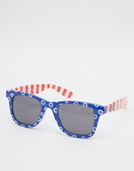 Vans Janelle Hipster Dots And Stripes Sunglasses Blue Red