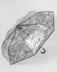 New Look Clear Sketchy Floral Umbrella Black