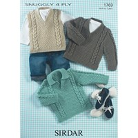 Sirdar Suggly 4 Ply Jumpers And Waistcoat Knitting Pattern 1769