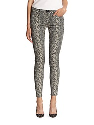 Hudson Nico Snake Print Mid Rise Super Skinny Jeans Sepia Serpent