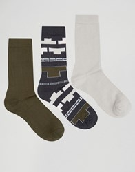 Asos Socks With Aztec Design 3 Pack Multi