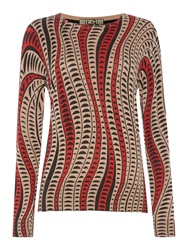 Biba Swirl Geometric Crew Neck Jumper Multi Coloured